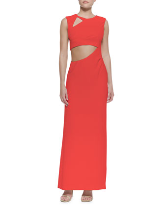 Kimora Cutout Sleeveless Crepe Gown, Red