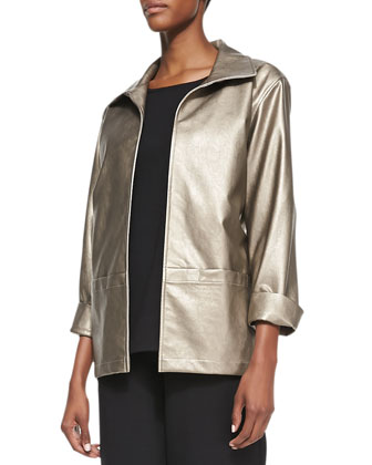 Modern Faux-Leather Jacket, Petite