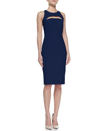 Cutout Slim Scoop-Neck Dress
