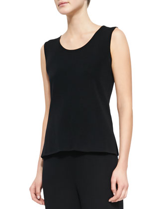 Sleeveless Long Tank, Black, Petite