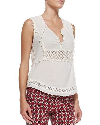 Voile Openwork Shell Top