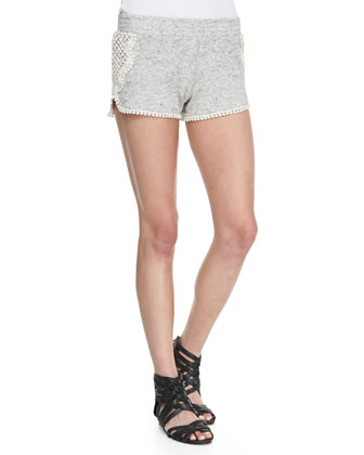Twisted-Seam Muscle Tee & Dolphin Crochet-Trim Jersey Shorts