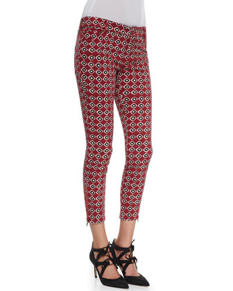 Voile Openwork Shell Top & Ikat-Printed Stretch Twill Pants