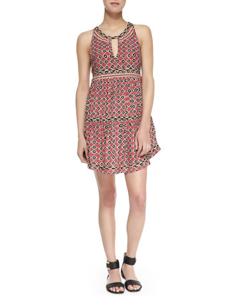 Sleeveless Tiered Ikat-Print Dress