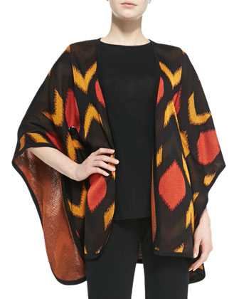Geometric Long Open Cardigan, Women's