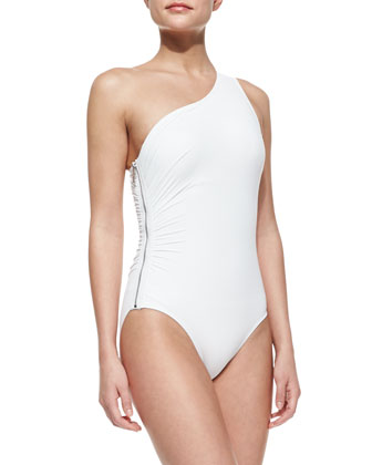 One-Shoulder Zip Maillot