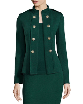 Santana Knit Double-Breasted Jacket, Emerald