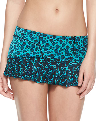 Printed Swim Top & Printed Flounced Swim Skirt Bottom