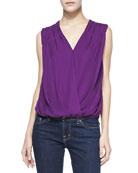 Silk/Linen Gathered-Shoulder Top
