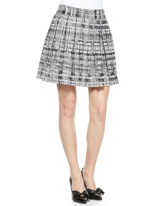 Cropped Novelty Stitched Cardigan & Kayla Printed Box Pleat Skirt
