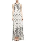 Isla Leather/Chiffon T-Back Long Dress