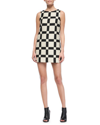 Dot Magnified-Check Shift Dress