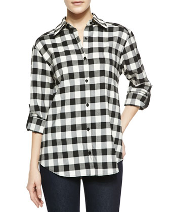 Piper Check Button-Down Shirt with Leather Tabs
