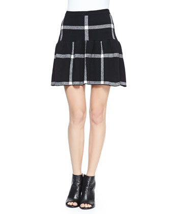 Leather-Detail 2-Tone Open-Front Jacket & Kimbra Checkered Dropped-Skirt