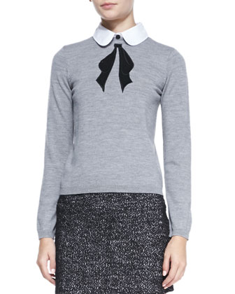 Ribbon Bow Knit Sweater & Tweed Clean Fitted Skirt