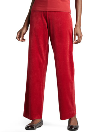 Velour Straight-Leg Pants, Petite