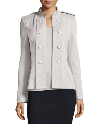 Santana Knit Double-Breasted Jacket, Platinum