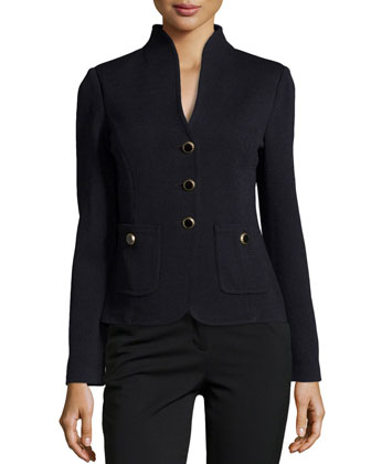 Santana Knit Stand-Collar Jacket, Onyx