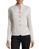 Santana Knit Stand-Collar Jacket, platinum