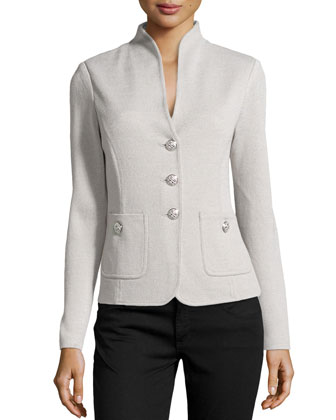 Santana Knit Stand-Collar Jacket, platinum