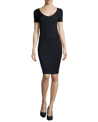 Santana Knit Short-Sleeve Sheath Dress, Onyx