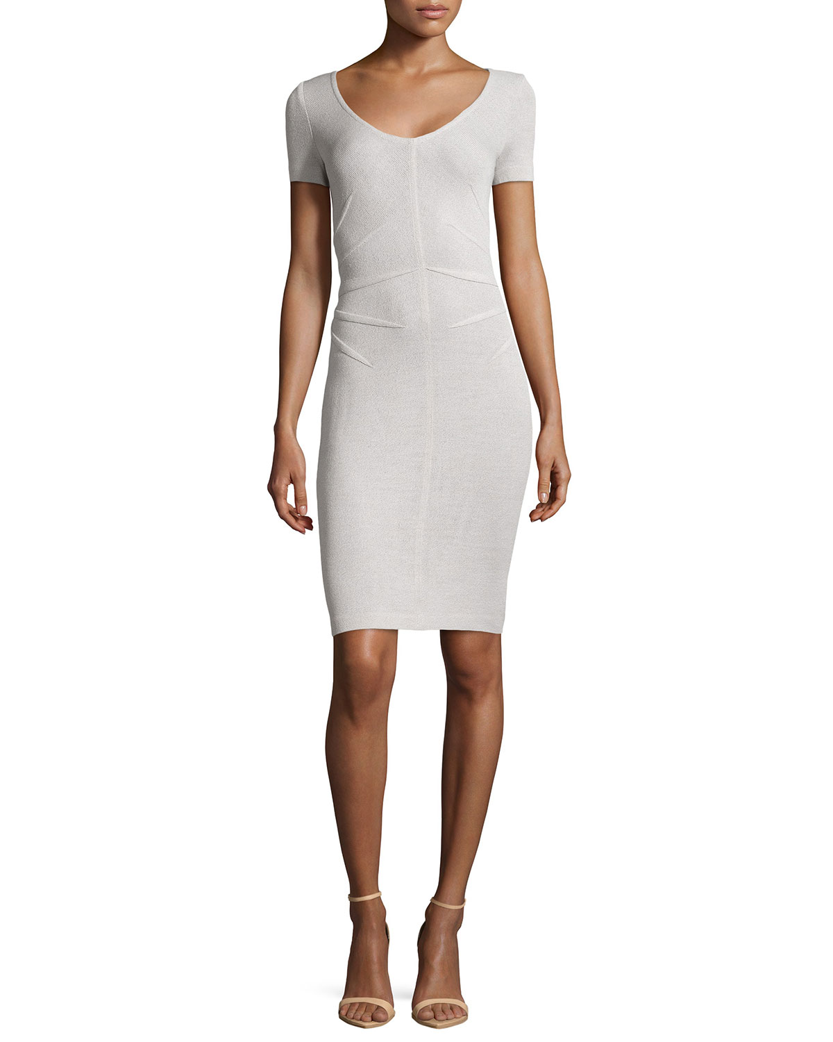 St. John - Women's Santana Knit Short-Sleeve Sheath Dress, Platinum - St. John - Platinum (14)