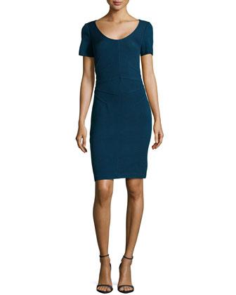 Santana Knit Short-Sleeve Sheath Dress, Sapphire