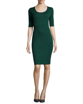Santana Knit Half-Sleeve Sheath Dress, Emerald