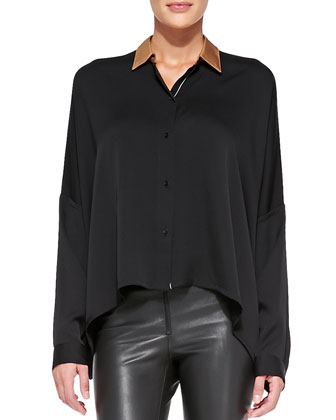 Contrast-Shoulder Stretch-Silk Blouse