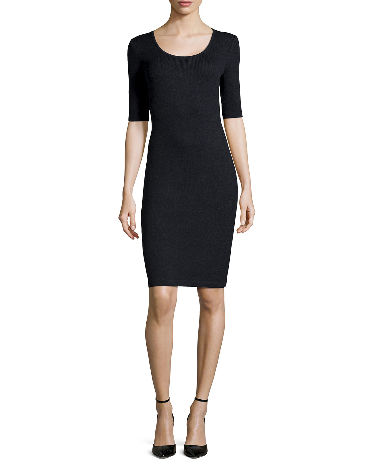 St. John - Women's Santana Knit Half-Sleeve Sheath Dress, Oynx - St. John - Onyx (14)