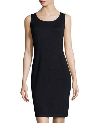 Scoop-Neck Knit Tank Dress, Onyx