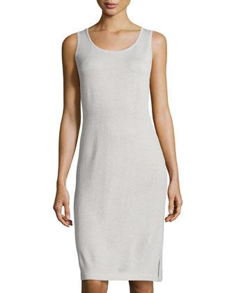 Scoop-Neck Knit Tank Dress, Platinum