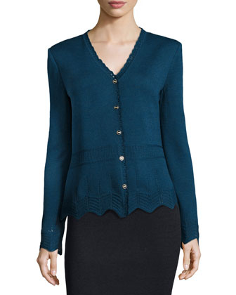 Santana Knit V-Neck Long-Sleeve Pointelle Cardigan, Sapphire
