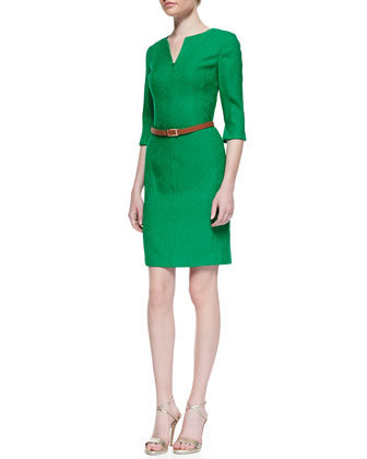 3/4-Sleeve Belted V-Neck Dress
