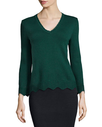Santana Knit V-Neck Pullover, Emerald