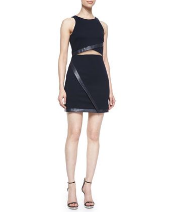 Drop-Back Faux-Leather-Trim Dress, Black