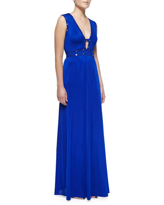 Juliette Sequin-Trim Cutout Jersey Gown