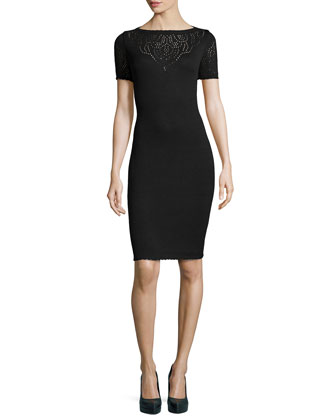 Santana Knit Short-Sleeve Pointelle Dress, Onyx