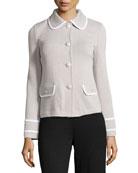 Santana Knit Jacket with Binding, Platinum