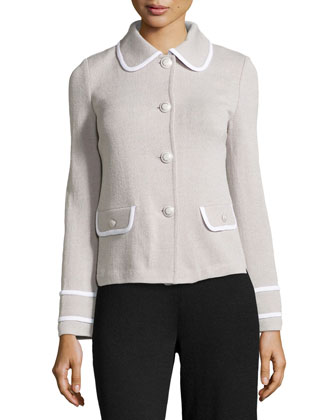 Santana Knit Jacket with Binding, Platinum