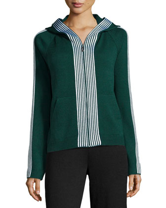 Santana Knit Hooded Bomber Jacket, Emerald