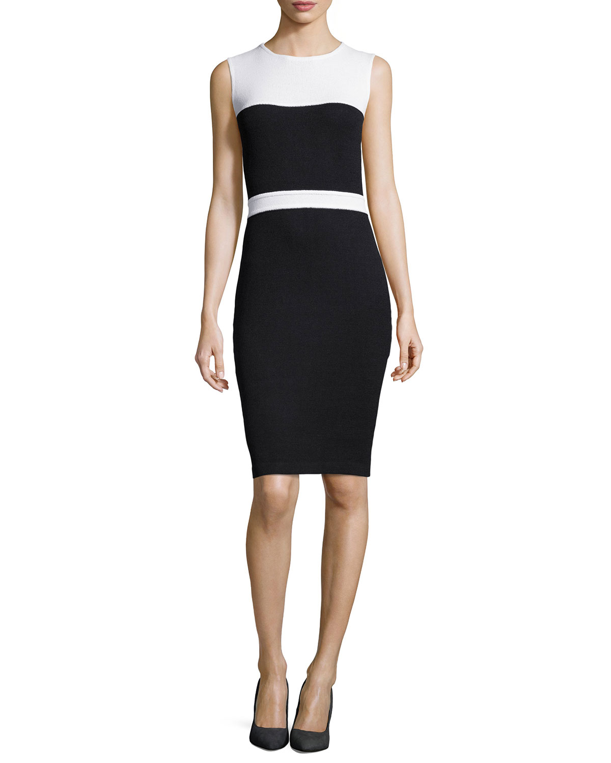 St. John - Women's Santana Knit Sleeveless Colorblock Dress, Onyx/White - St. John - Onyx/Bright white (14)