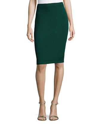 Santana Knit Basic Pencil Skirt, Emerald