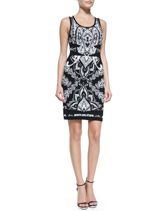 Sleeveless Printed Knit Cocktail Dress