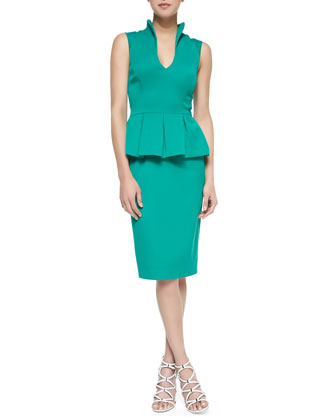Candeese Sleeveless Peplum Sheath Dress, Summer Green