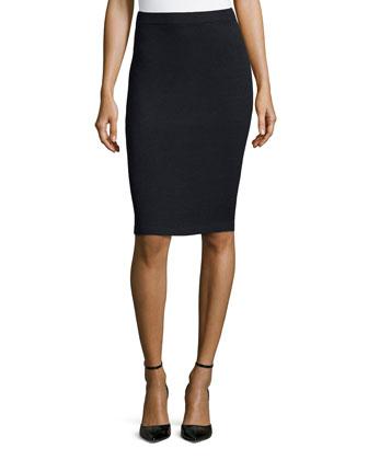 St. John Santana Knit Basic Pencil Skirt, Onyx