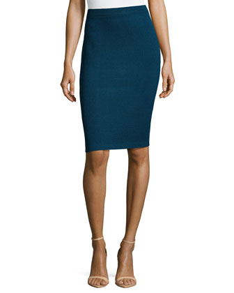 Santana Knit Basic Pencil Skirt, Sapphire
