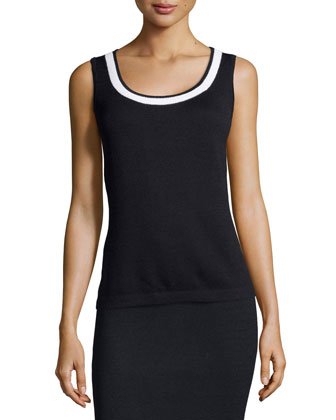 Santana Knit Tank with Trim, Onyx