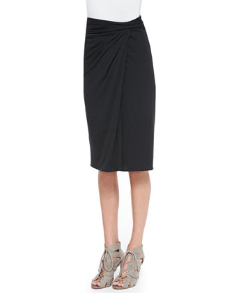 Filleo Bringa Open-Windowpane High-Low Top & Rhina Twist-Waist Jersey Skirt
