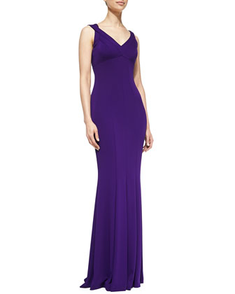 Sleeveless V-Neck Mermaid Gown